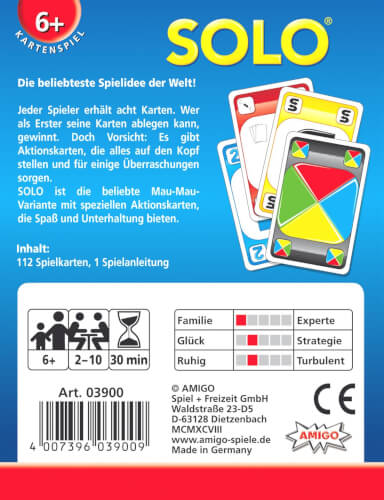 für 2-4 Spieler ab 6 Jahren AMIGO 03900 Solo Kartenspiel