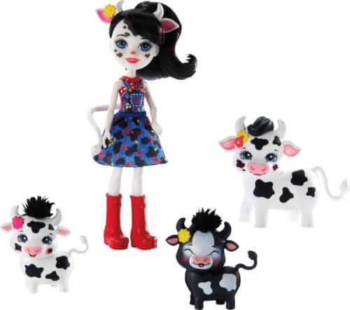 Mattel GJX44 Enchantimals Cambrie Cow, Ricotta & Familie