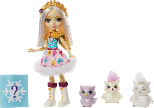 Mattel GJX46 Enchantimals Odele Owl Puppe, Cruise & Familie