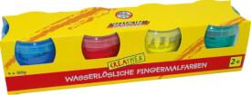 Creathek Fingerfarben 4er Pack á 150 g, Farben: rot, gelb, grün und blau, ab 3 Jahren