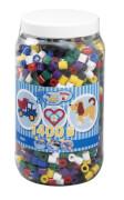 HAMA Bügelperlen Maxi - Vollton Mix 1400 Perlen (6 Farben) in Aufbewahrungsdose
