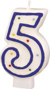 Amscan Zahlenkerze ''5'' (Motiv), Wachs, ca. 14x8x2 cm